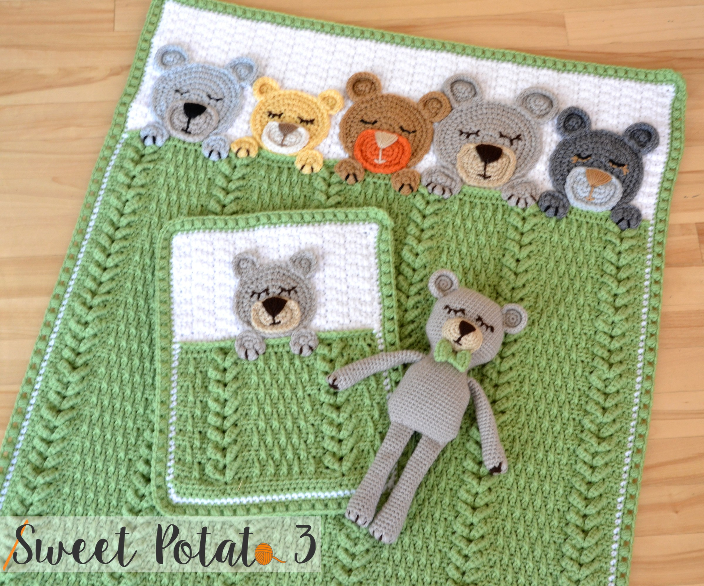 Sleep Tight Teddy Bear Set - Crochet Pattern - Sweet Potato 3
