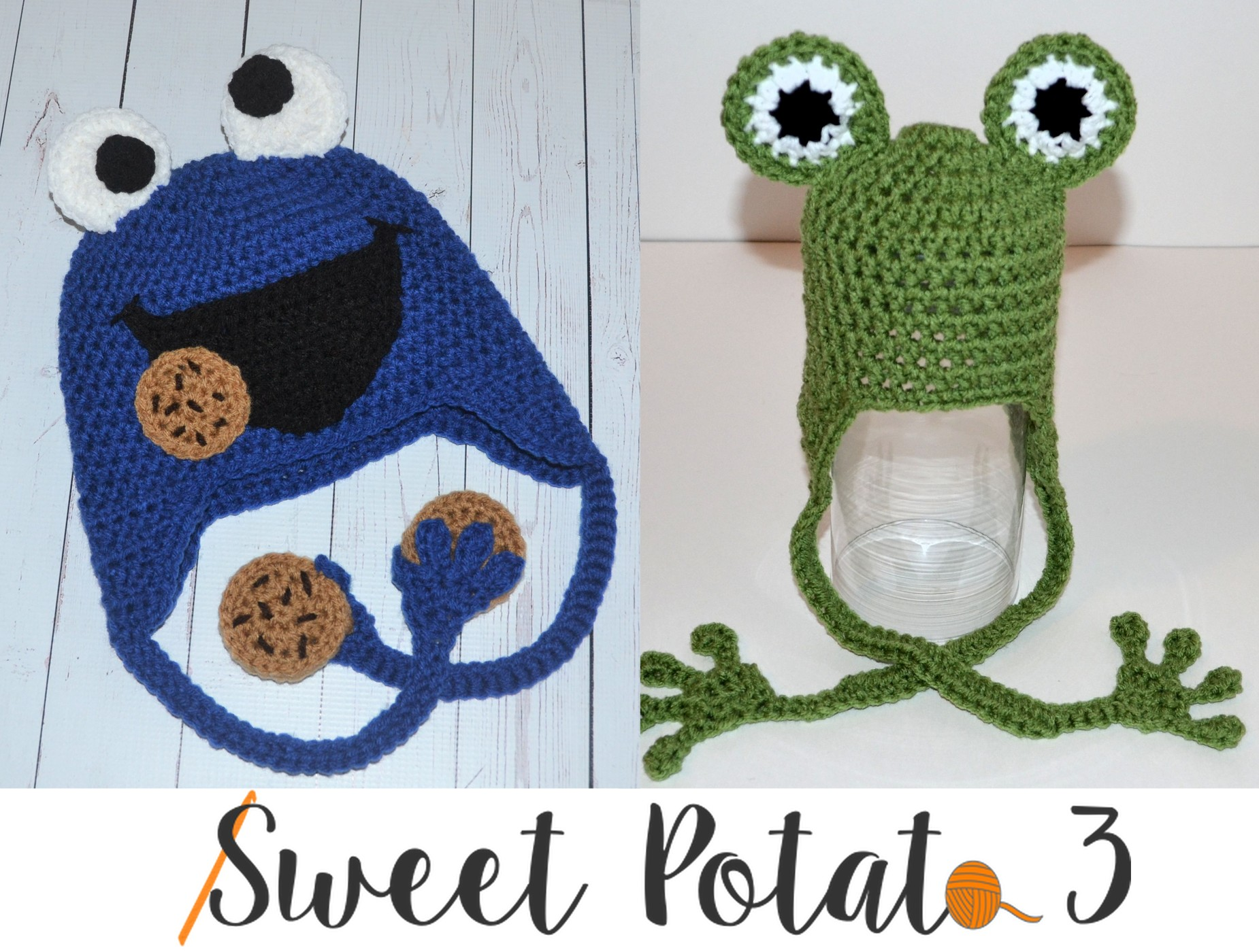 Frog Hat to Cookie Monster Pattern - Free - Sweet Potato 3